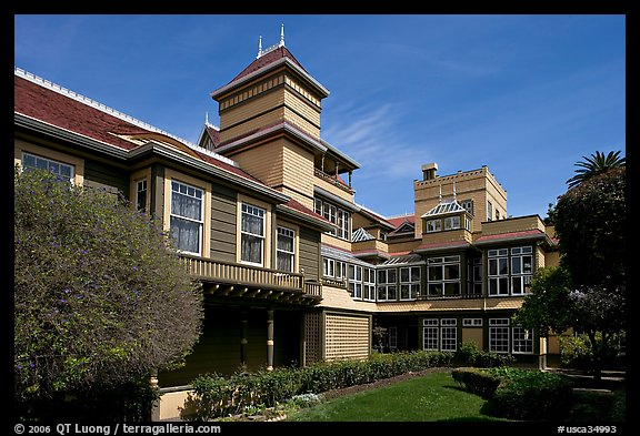 Garden and courtyard. Winchester Mystery House, San Jose, California, USA (color)