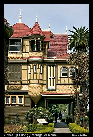 Mansion wing with door opening to a one-story drop. Winchester Mystery House, San Jose, California, USA (color)
