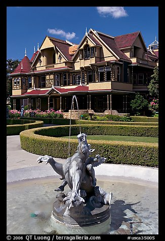 Fountain and mansion. Winchester Mystery House, San Jose, California, USA (color)