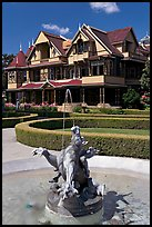 Fountain and mansion. Winchester Mystery House, San Jose, California, USA ( color)