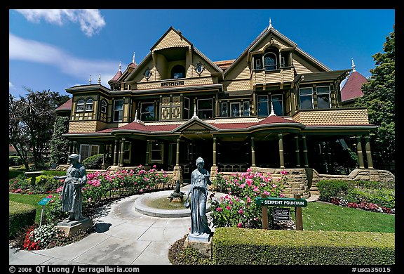 Main facade. Winchester Mystery House, San Jose, California, USA (color)