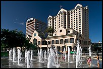 Fountain on Plaza de Cesar Chavez and Fairmont Hotel. San Jose, California, USA (color)