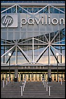 Facade of HP pavilion with San Jose sign, sunset. San Jose, California, USA (color)