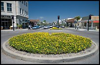 Flower circle, Castro Street, Mountain View. California, USA (color)