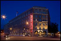 Hotel Sainte Claire at night. San Jose, California, USA (color)