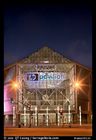 HP Pavilion at night. San Jose, California, USA (color)
