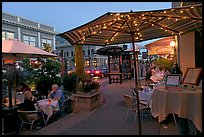 Restaurant dining on outdoor tables, Castro Street, Mountain View. California, USA