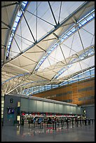 Check-in booth, SFO airport, designed by Craig Hartman. California, USA (color)