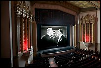 Classic black and white movie showing in Stanford Theatre. Palo Alto,  California, USA (color)