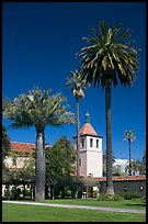 Palm trees and mission, Santa Clara University. Santa Clara,  California, USA (color)