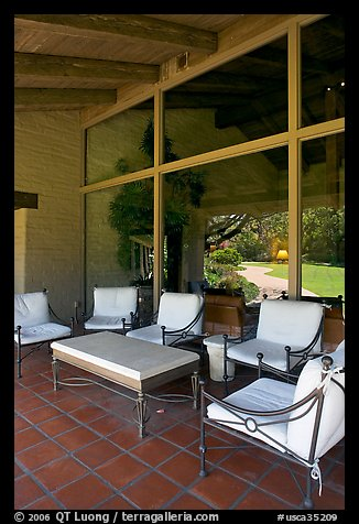 Chairs and coffee table on porch, Sunset Gardens. Menlo Park,  California, USA (color)
