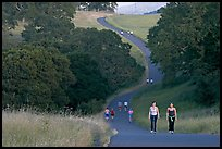 Women walking on trail, Stanford academic preserve. Stanford University, California, USA ( color)