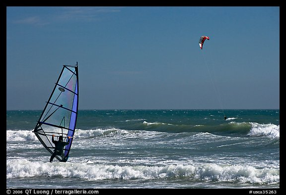 Windsurfer and kitesurfer, Waddell Creek Beach. California, USA (color)
