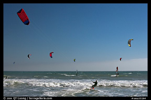 Kite surfing and wind surfing, Waddell Creek Beach. California, USA (color)