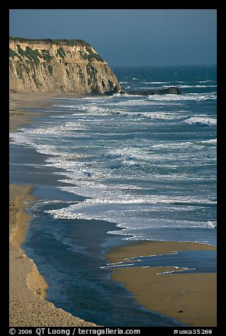 Waves and cliffs, Scott Creek Beach. California, USA (color)