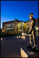 Rodin sculpture and Cantor Museum at night. Stanford University, California, USA ( color)