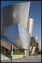 Silvery architecture of the Walt Disney Concert Hall, early morning. Los Angeles, California, USA
