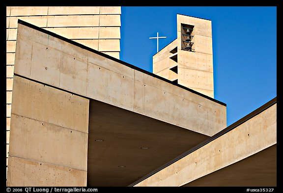 Angular shapes of Cathedral of our Lady of the Angels. Los Angeles, California, USA (color)