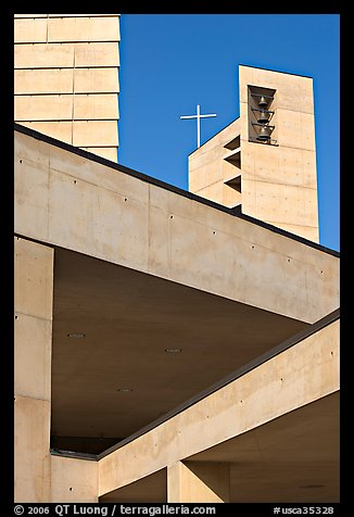Belltower of Cathedral of our Lady of the Angels. Los Angeles, California, USA (color)