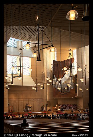Interior of the Cathedral of our Lady of the Angels, designed by Jose Rafael Moneo. Los Angeles, California, USA (color)