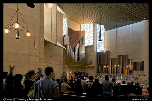 Interior of the Cathedral of our Lady of the Angels during Sunday service. Los Angeles, California, USA (color)