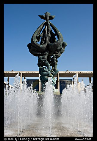 Fountain dedicated to world peace, Music Center. Los Angeles, California, USA (color)
