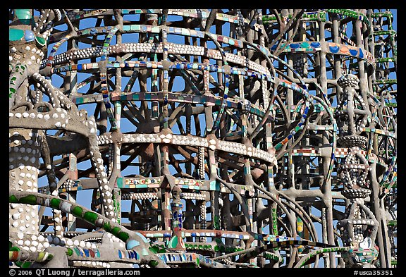 Detail, Watts towers, a masterpiece of folk art. Watts, Los Angeles, California, USA (color)