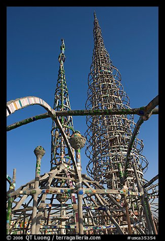 Whimsical Watts Towers. Watts, Los Angeles, California, USA (color)