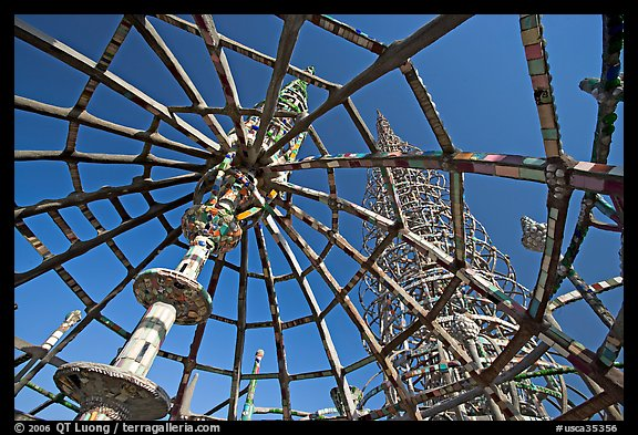 Tower seen from Gazebo, Watts Towers. Watts, Los Angeles, California, USA (color)