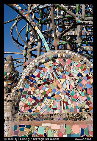 Moscaic and tower, Watts Towers. Watts, Los Angeles, California, USA (color)