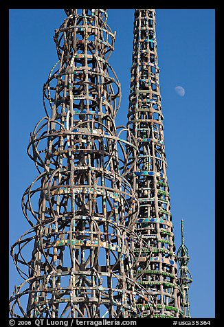 Watts towers and moon. Watts, Los Angeles, California, USA (color)