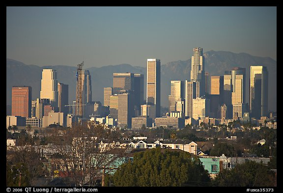 Downtown skyline, late afternoon. Los Angeles, California, USA (color)
