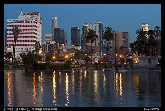 Mc Arthur Park and skyline, dusk. Los Angeles, California, USA (color)