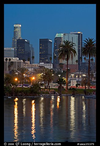 Skyline reflected in a lake in Mc Arthur Park. Los Angeles, California, USA (color)