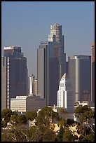 City Hall and high rise buildings. Los Angeles, California, USA (color)