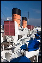 Chimneys, and life rafts aboard the Queen Mary liner. Long Beach, Los Angeles, California, USA (color)
