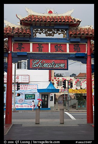 Gate, Chinatown. Los Angeles, California, USA (color)