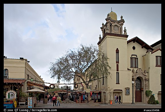 Church and Olvera Street, El Pueblo historic district. Los Angeles, California, USA (color)