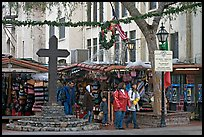 Stalls on Olvera Street, El Pueblo historic district. Los Angeles, California, USA (color)