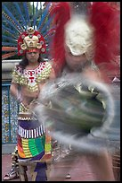 Aztec dancers in motion. Los Angeles, California, USA (color)