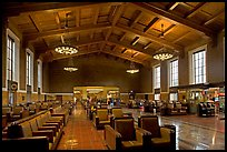 Waiting room in Union Station. Los Angeles, California, USA (color)