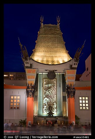 Main gate of Grauman Chinese Theatre at night. Hollywood, Los Angeles, California, USA (color)