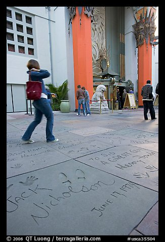 Footprints and handprints of Jack Nicholson in the Grauman theatre forecourt. Hollywood, Los Angeles, California, USA (color)