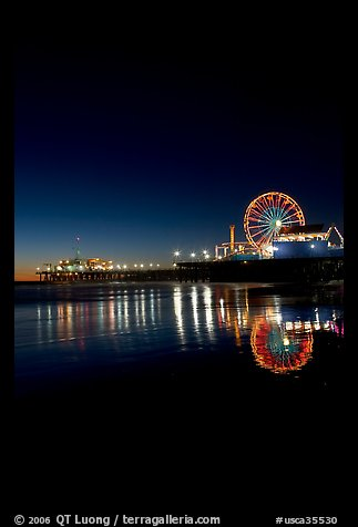 Ferris Wheel and pier at night. Santa Monica, Los Angeles, California, USA (color)