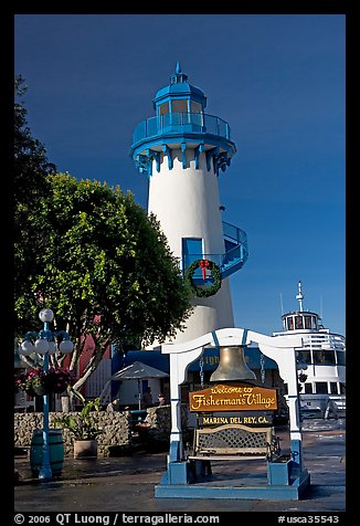 Fishermans village sign and lighthouse. Marina Del Rey, Los Angeles, California, USA (color)