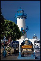 Fishermans village sign and lighthouse. Marina Del Rey, Los Angeles, California, USA