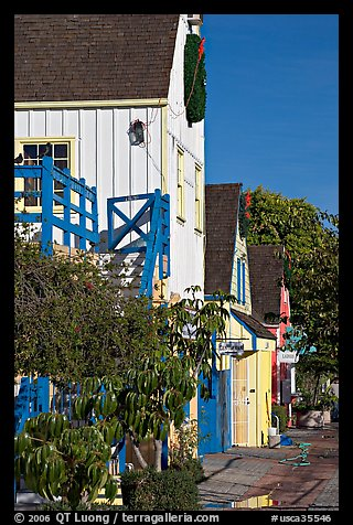 Brighly painted houses, Fishermans village. Marina Del Rey, Los Angeles, California, USA (color)