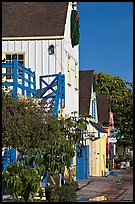 Brighly painted houses, Fishermans village. Marina Del Rey, Los Angeles, California, USA ( color)