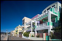 Row of colorful houses and beach promenade. Santa Monica, Los Angeles, California, USA