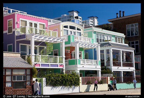 Row Of Colorful Beach Houses Santa Monica Los Angeles California